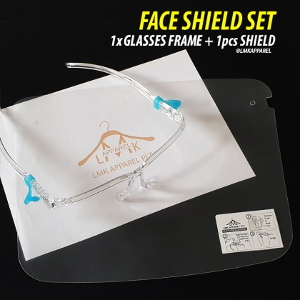 ⚡ LMK - ULTRA HD CLEAR Premium Protective Full Face Shield with glasses frame│Topeng Muka 防护面罩 @LMK Apparel